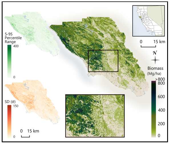 Aboveground biomass graphical map for Sonoma County.