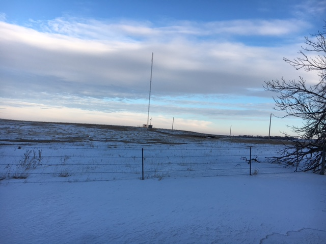 A communication tower at the Wessington, South Dakota.