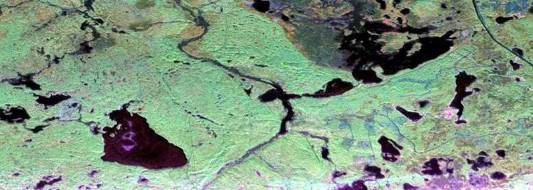 AirMOSS radar returns at BERMS, Saskatchewan, on April 22, 2013, rendered as a color image.
