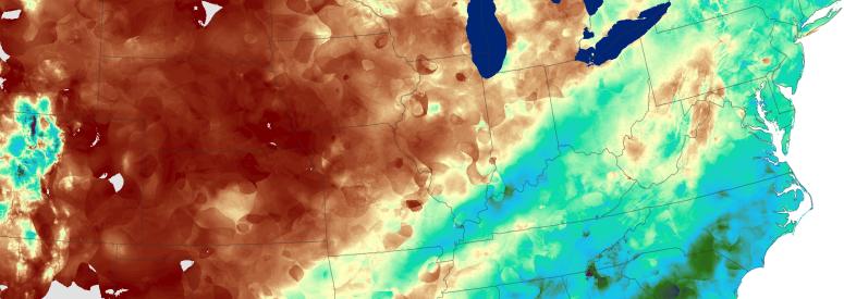 Daymet precipitation across eastern North America, January 2000