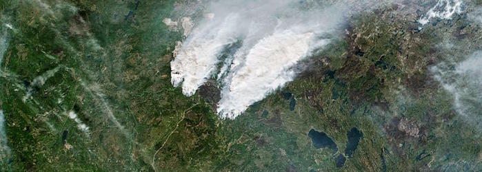 The Suomi-NPP satellite captured this image of active fires near Fort McMurray, Canada, in May 2016. PHOTOGRAPH BY NASA EARTH OBSERVATORY