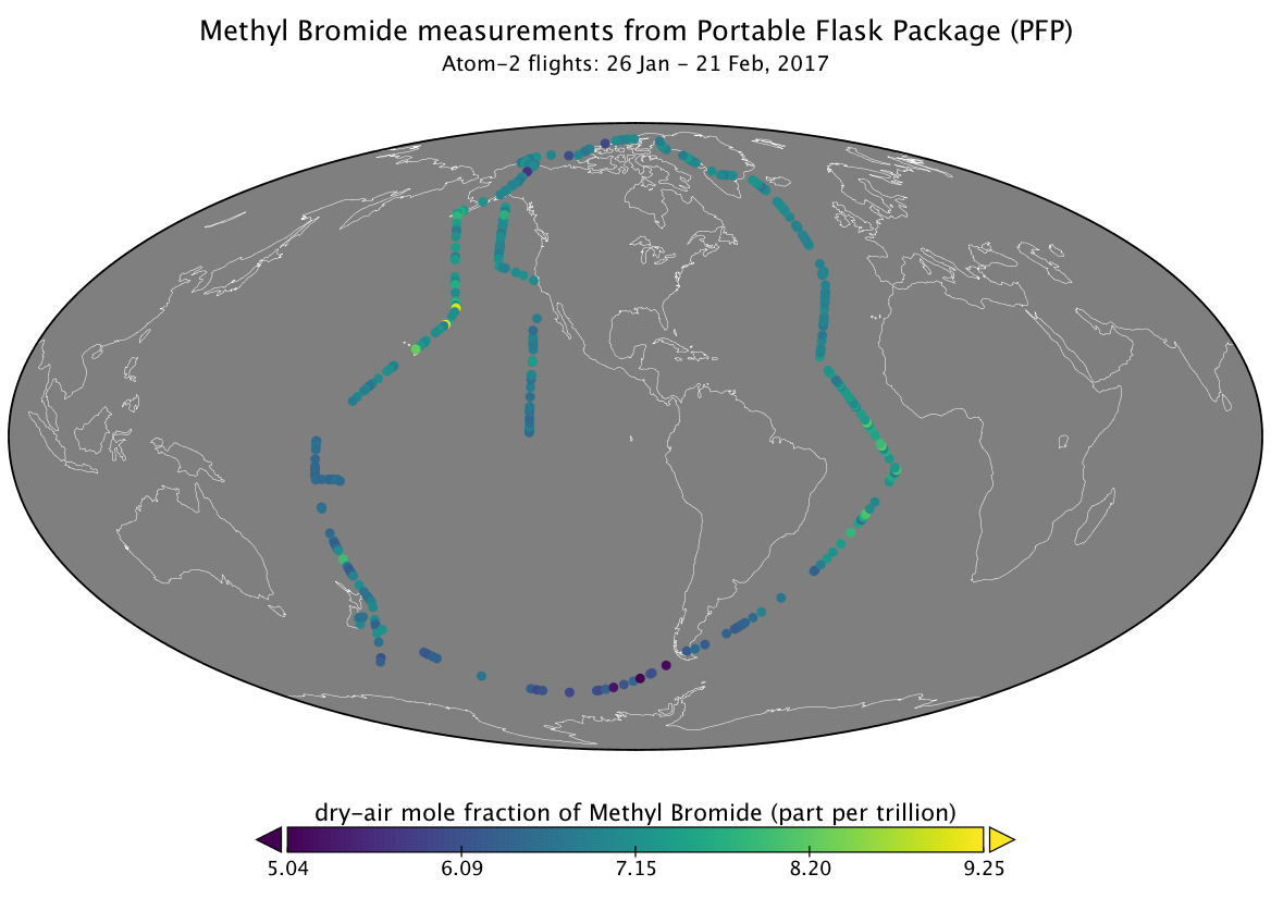 Map of methyl bromide data collection.