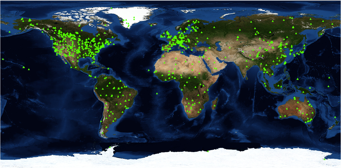 Locations of the 1,100+  field sites with available 7 x 7-km MODIS land product subsets.