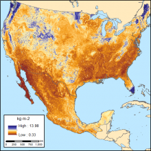 Map of soil organic carbon across the USA and Mexico.