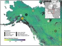 Spatial distribution of eight wolf study populations used in an assessment of denning phenology in response to climate signals from 2000-2017