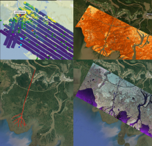 AirSWOT, UAVSAR and the ASO lidar Collage