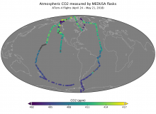 Map showing atmospheric CO2 measurements.