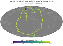 Map showing CFC-11 mixing ratio