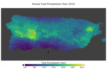 total annual precipitation in Puerto Rico for year 2015