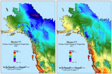 Daymet V3 average annual minimum temperature for 1980 and 2015 for a subset of the Daymet domain in Alaska and western Canada.