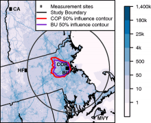 Map of measurement stations in the Boston network and 2014 average afternoon CO2 emissions.