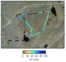 Active layer thickness derived from GPR data for the Basin Turnout route