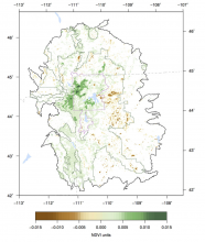 Map of NDVI in Greater Yellowstone Ecosystem